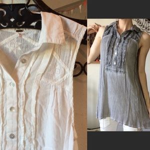 Free People White Short Sleeve Tunic Lace Stars
